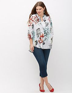 The floral print on this Melissa McCarthy Seven7 top is begging to be worn with your fave dark-wash jeans. Notch neck. Elastic sleeves. lanebryant.com