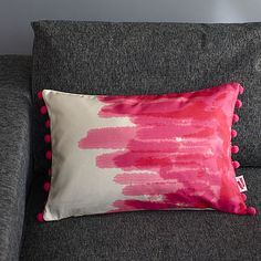 Painted Cushion Catherine Colebrook - Not on the High Street Bed Cushions, Throw Pillows, Shared Bedrooms, Soft Furnishings, Beautiful Homes, Room Decor, Pink, Painting, Wanderlust Travel