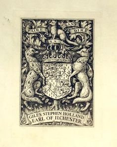 Ex Libris of Giles Stephen Holland Fox-Strangways, 6th Earl of Ilchester