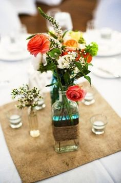 Set of 4 Square Burlap Table Runner  Wedding by MadeInBurlap, $25.00