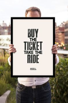 """Inspirational Quote Motivational Print Art Wall Decor """"Hunter S Thompson"""" Typographic Poster Sign Subway Art"""