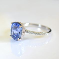 Certified natural 4 carat cornflower  blue sapphire by ReneJewelry, $4500.00