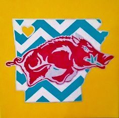 Woo Pig! Chevron Razorback! 12 x 12 Painted Canvas. Can Be Personalized. For Sale $35