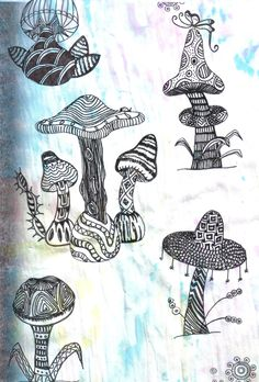 """FUNGI FUN"" CREATED BY LISA FAE - THIS WAS A PAGE FROM A ZENTANGLE BOOK. THE MUSHROOMS WERE PLAIN AND I JUST DECORATED THEM."