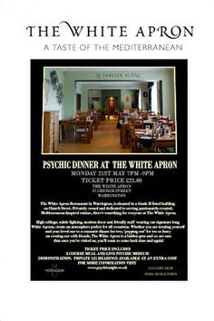 Clairvoyance Evening and Dinner at The White Apron Warrington, Ticket Price now Only £20.00 3 course meal 21st May