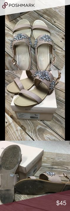 """BCBG Generation  Jewelstone Sandals Size 8.5 Worn twice! Gorgeous BCBG sandals!  Color is neutral Called """"sandbar"""". 🌞🐠 (Reminds me of the beach🐳) Cute for any Romper outfit or outdoor occasion! Size 8.5 very comfortable BCBGeneration Shoes Sandals"""