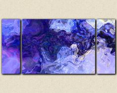 "Large contemporary abstract art stretched canvas print, to triptych in blue and purple, from abstract painting ""Midnight Blues"" Blue Abstract, Abstract Canvas, Stretched Canvas Prints, Canvas Art Prints, Purple Painting, Contemporary Abstract Art, Triptych, Cool Artwork, Blues"
