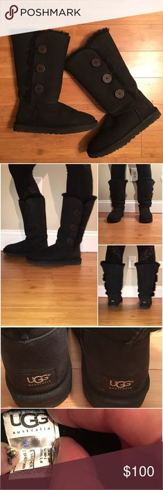 """Ugg Bailey Button Triplet Boots Black suede uggs with sheepskin lining. 3 large wood button closures at side. Can be worn up or cuff can be rolled down. Has some staining and left boot has fur sticking out of seam. Shaft height is approximately 12 1/4"""" tall with a 14 1/2"""" circumference. This is the original which is no longer made. No box. UGG Shoes"""