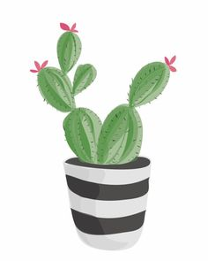 This digital cactus print is a whimsical addition to a salon wall or garden themed room. Cactus Drawing, Cactus Art, Cactus Plants, Indoor Cactus, Cactus Cactus, Illustration Cactus, Digital Illustration, Plant Painting, Plant Art