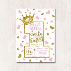 1st Birthday invitation, First Princess Birthday Invitation, 2nd 3rd 4th 5th Invitation for Girl, Pink and Gold Hearts, ANY AGE - 1614 by CoolStudio on Etsy https://www.etsy.com/listing/504547283/1st-birthday-invitation-first-princess