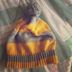 VS Beanie Yellow and gray knitted beanie with Pom Pom.   ✨Offers welcome! PINK Victoria's Secret Accessories Hats