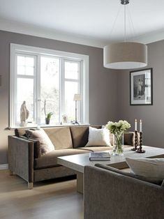 Simple lines. Colour is a bit boring but could add an accent colour. Modern Home Interior Design, Cosy Living Room, Living Dining Room, Interior, Paint Colors For Living Room, Home Decor, House Interior, Room Interior, Apartment Decor