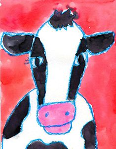A piece of stock art inspired this simple watercolor cow with bold, colorful outlining. The trick is to trace the drawing of the cow many times with crayon so the color will really stand out when complete. 1. Students draw their cow face in pencil. 2. They chose one crayon to trace all the pencil lines. … Read More