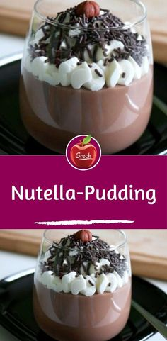 Nutella Pudding - Ingredients for 4 servings 500 ml milk 100 g nutella 2 tbsp sugar 3 drops butter vanilla flavor (op - Chocolate Chip Cookies, Chocolate Cookie Recipes, Easy Cookie Recipes, Easy Desserts, Peanut Butter Chips, Peanut Butter Cookie Recipe, Chip Cookie Recipe, Mousse Au Nutella, Cake Au Nutella