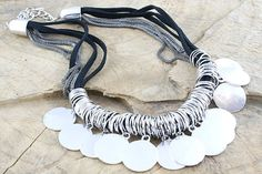 Designer inspired. Chunky metal and cord, link and disc necklace. Necklace length 42cm's + 7cm extension chain. £17
