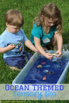 Simple ocean themed sensory bin with sand and water. Great ocean activity to go along with The Pout-Pout Fish or other ocean themed books.