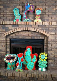 BARBARA GILHOOLY 'POP-UP GARDEN' Cut-Outs acrylic wood cut outs on slotted stands