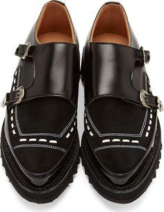 Johnlawrencesullivan Black Embellished Leather Monk Strap Shoes