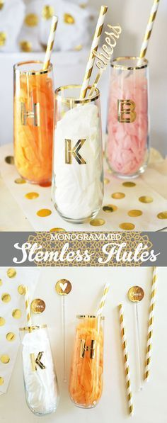 Stemless Champagne Flutes are unique Bridesmaid Gift Ideas.  Gold Monogram Stemless Wine Glasses are perfect to use as a bridal shower gift or at a bachelorette party too!  by Mod Party #WeddingIdeasGold