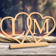 Personalised Heart Initial Wooden Wedding Name Plaque Freestanding Letters MDF