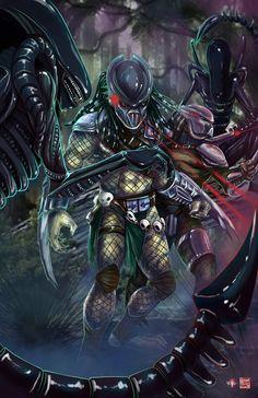 Predators vs Aliens by TyrineCarver.deviantart.com on @DeviantArt
