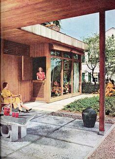 Mid century patio. Love the split door!