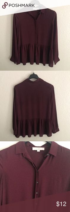 Loft long sleeve blouse Maroon blouse with a relaxed peplum bottom LOFT Tops Blouses