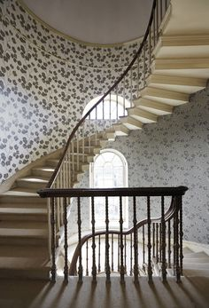 For an elegant staircase, use Harlequin's Poetica wallcoverings to make a true statement!