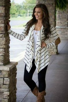 The perfect cardigan for jeans or leggings and boots! Our Go with The Flow Cardigan is sure to become a favorite. Featuring a flowing neckline, the trend of the