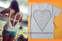 Ideen zu Hemd in Chic Refashion (Tshirt Diy Ideas) Diy Cut Shirts, Old Shirts, T Shirt Diy, Diy Tshirt Ideas, Diy Ideas, Ideas Para, Cut Up T Shirt, Refashioning, Creation Couture