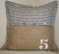 burlap and ticking.....this would be cute in my childrens patriotic bedroom