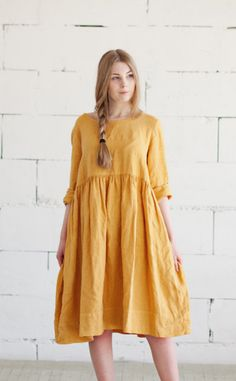 Yellow Linen Dress   SondeflorShop