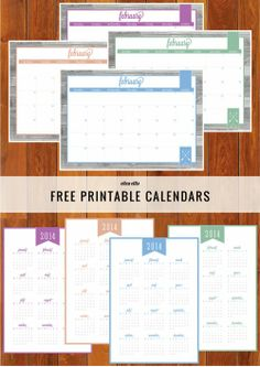 The Ultimate Free Printable Home Organizer Calendars in Orchid, Hemlock, Placid and Peach.