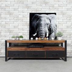 Industrial TV cabinet with 3 drawers in dark Acacia wood Industrial Tv Unit, Industrial Tv Stand, Rustic Industrial, Muebles Rack Tv, Garage Storage Units, Rack Design, Salon Design, Living Room Designs, Salon Ideas