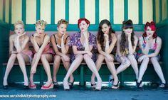 Pinup girl bridesmaids photo poses- Brighton Beach Pin Ups by Sarah Olivier (9)