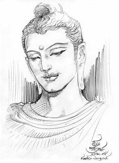"""Resolutely train yourself to attain peace."" ~ The Buddha ♥ Buddha Drawing, Buddha Painting, Buddha Art, Tattoo Buddhist, Buddha Sculpture, Indian Folk Art, Art Drawings Sketches Simple, Ink Pen Drawings, Thai Art"