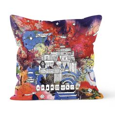Vegas & The Grand Canyon cushion in a soft vegan suede finish, with an abstract illustration encapsulating Sin City's finest hotels, motels, casinos and more. Set on a vibrant multicoloured ink backdrop. Gin Glasses, Whiskey Gifts, Las Vegas Homes, Fine Hotels, Sin City, New Home Gifts, Gift For Lover, Bridesmaid Gifts, Grand Canyon