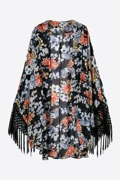 Retro Black Floral Printed Long Sleeve Kimono. Free 3-7 days expedited shipping to U.S. Free first class word wide shipping. Customer service: help@moooh.net