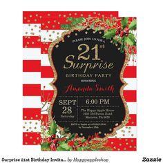 Surprise 21st Birthday Invitation Christmas Gold