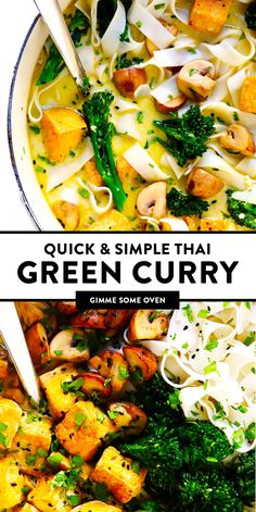 this Everyday Green Curry recipe! It's made with the most delicious Thai coconut green curry broth and easy to customize with rice or noodles plus any kind of veggies or proteins (chicken shrimp beef tofu etc. Perfect for quick and easy dinners! Green Curry Recipes Vegetarian, Thai Curry Recipes, Tofu Recipes, Asian Recipes, Best Tofu Curry Recipe, Vegetarian Options, Easy Recipes, Dinner Recipes, Kitchens