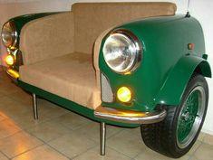 Car Part Furniture, Automotive Furniture, Automotive Decor, Furniture Making, Classic Mini, Vw Car Parts, Porsche Boxster 986, Sofa Bar, Car Part Art