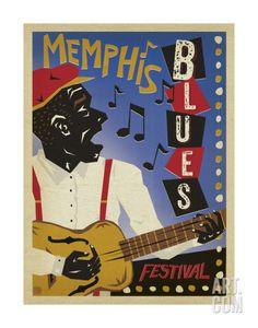Memphis Blues Festival Art Print by Anderson Design Group at Art.com