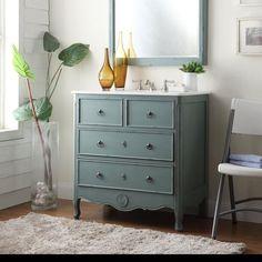 Chans Furniture HF081Y Daleville 34 Inch Vintage Blue Bathroom Sink Vanity