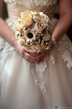 ❤️❤️❤️ i can make this with wooden flowers from divisoria and dried statice. I'll use lace to wrap the flowers together. Im so excited! Wooden Flowers, Perfect Wedding, Wedding Bouquets, Unique, Lace, Inspiration, Google, Flower Bouquets, Bridal Bouquets