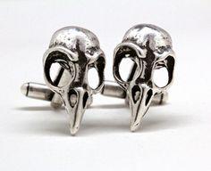 On Sale Bird skull cuff links by billyblue22 on Etsy