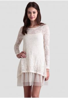 Lace Tunic Dress. I can do this with white skirt and long lace tunic.