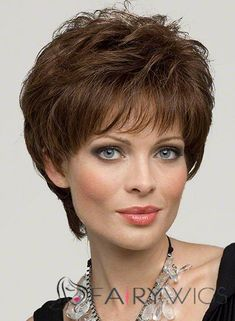 Dynamic Feeling from Capless Short Wavy Brown Indian Remy Hair Wigs Remy Hair Wigs, 100 Human Hair Wigs, Short Hair Wigs, Remy Human Hair, Short Hair Styles, Haircut For Square Face, Square Face Hairstyles, Wig Hairstyles, Hairstyles 2016