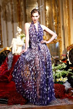 White print on purple schiffon sheer gown by John Galliano   Fall 2011 Ready-to-Wear Collection