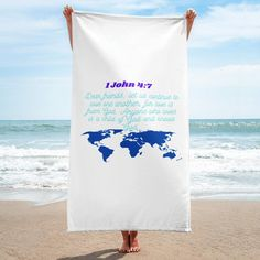 Give your bathroom a vibrant look and wrap yourself up with this super soft and cozy all-over sublimation towel. Shop Now!  #towel #scripture #biblebased 1 John, Knowing God, Dear Friend, Shop Now, Vibrant, Towel, Cozy, Bathroom, Stuff To Buy