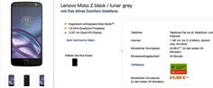Günstiger Handyvertrag mit dem Lenovo Moto Z 32GB mit Vertrag Flat Allnet Comfort Vodafone mit 7,41 € rechnerische monatliche Grundgebühr im Netz von Vodafone   #Lenovo Moto Z
